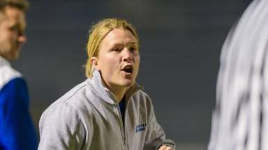 Hofstra women's lacrosse coach Shannon Smith on April