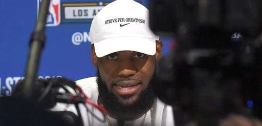 LeBron James is interviewed during NBA All-Star Media