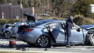A two-vehicle crash in Hauppauge closed parts of