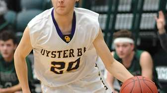 Luke Marmorlae #20 of Oyster Bay dribbles during