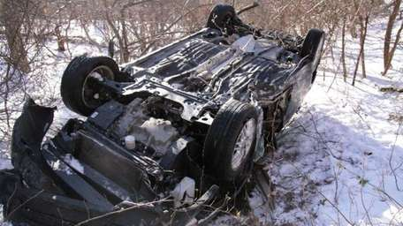 A woman was injured in a single-car crash