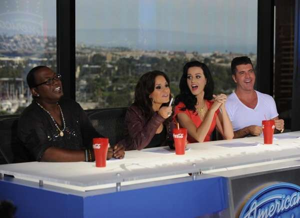 Guest judge Katy Perry, second from right, joins