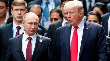 Russia's President Vladimir Putin with President Donald Trump,
