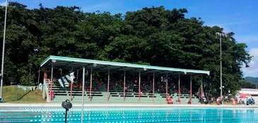 The repaired pool and bleachers of the Club