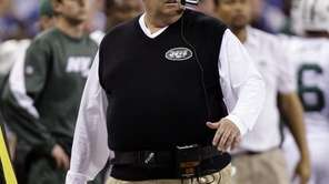 New York Jets coach Rex Ryan walks the