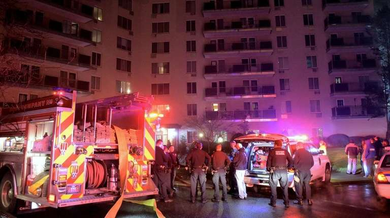 Firefighters respond to a blaze in an apartment