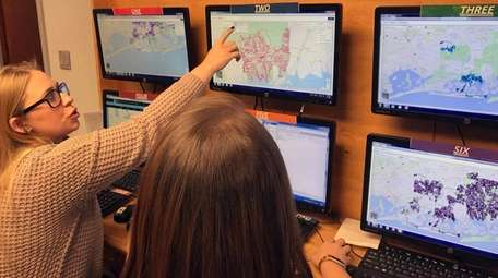 Hempstead Town employees track the snowstorm and plowing