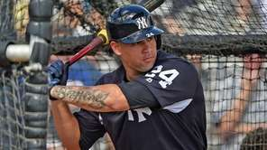 Yankees catcher Gary Sanchez takes batting practice during