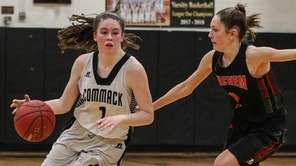 Casey Hearns of Commack dribbles around Sachem East's