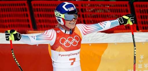 Lindsey Vonn smiles in the finish area after