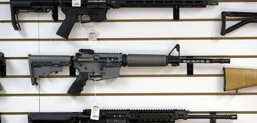 A Ruger AR-15 semi-automatic rifle, center, is on