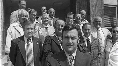 Richard Hartman with PBA leaders in Mineola in