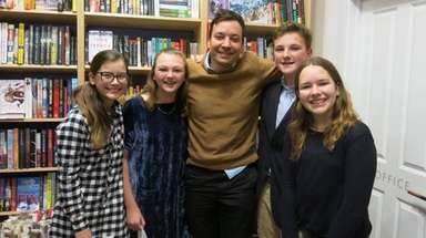 Jimmy Fallon with Kidsday reporters Ava Zeledon, left,
