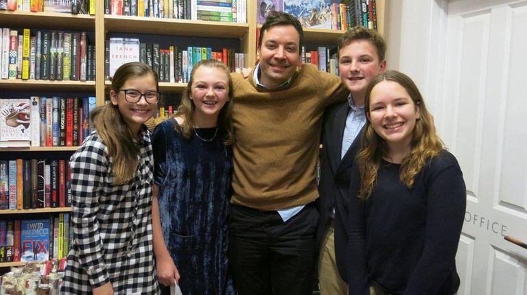 Jimmy Fallon with Kidsday reporters Ava Zeledon, left,