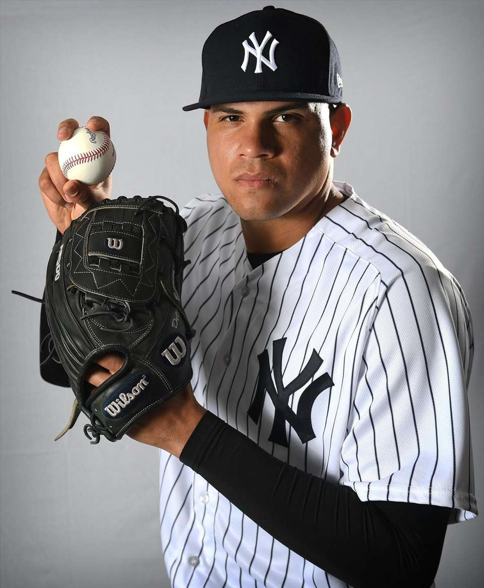 Yankees pitcher Dellin Betances on Photo Day 2018