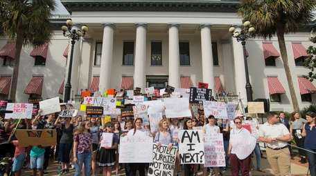 Protesters gather at the Florida state Capitol in