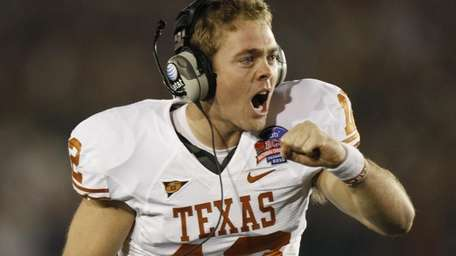 Texas quarterback Colt McCoy reacts to a two-point
