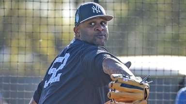 Yankees pitcher CC Sabathia throws live batting practice