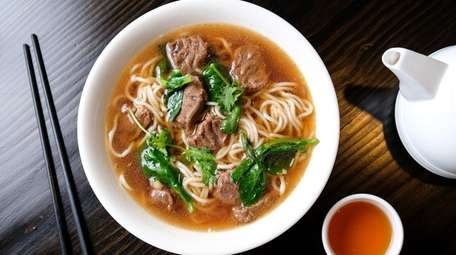 Beef noodle soup served at Spicy Home Tasty