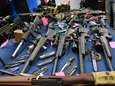 These firearms and knives were found at the