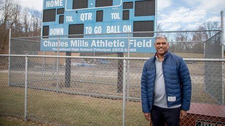 Knicks president Steve Mills visits an athletic field