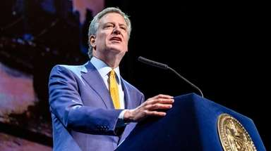Mayor Bill de Blasio, above giving the 2018
