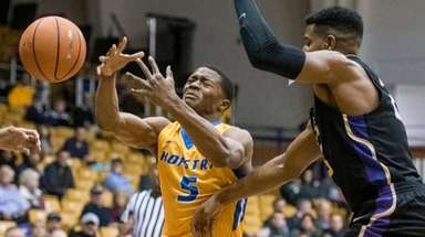 Hofstra guard Eli Pemberton loses control of the