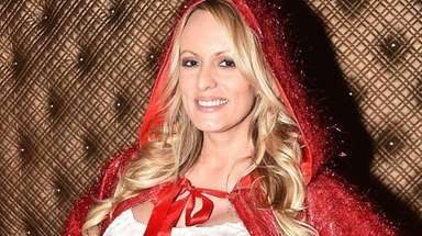 Adult-film start Stormy Daniels in her dressing room