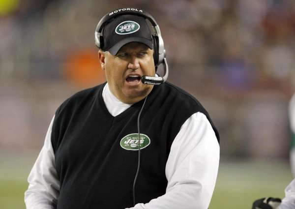 New York Jets coach Rex Ryan directs his