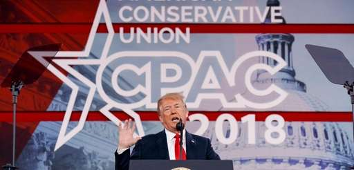 President Donald Trump delivers remarks to the CPAC