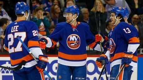 The Islanders' Josh Bailey celebrates his goal against