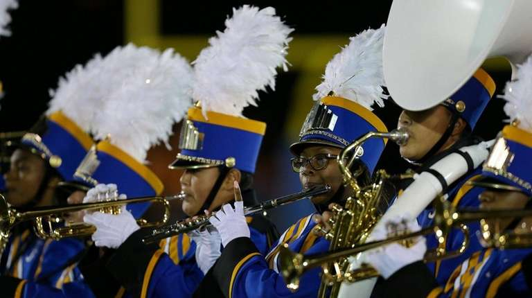 Roosevelt High School's band performs at Mitchel Field