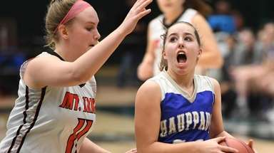 Hauppauge guard Guiliana Abruscata looks to shoot defended
