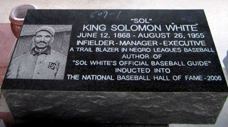 Baseball Hall of Famer Sol White's gravestone at
