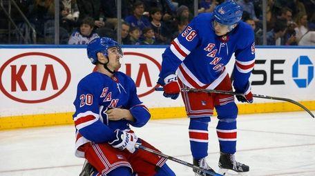 Chris Kreider and John Gilmour of the Rangers