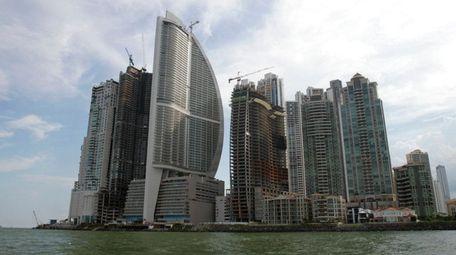 Trump International Hotel Panama, third building from left,