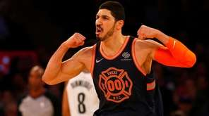 Enes Kanter of the Knicks reacts after a