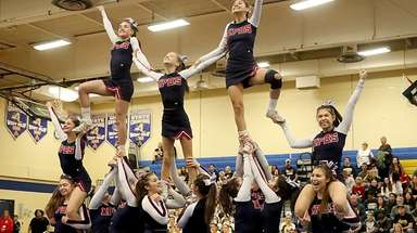 Miller Place High School with their pyramid in