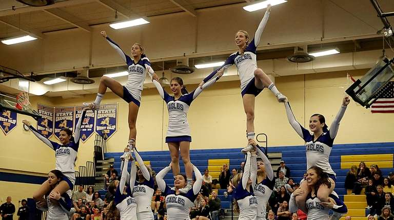 Hauppauge High School with their pyramid in the