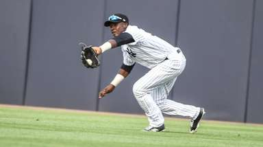 New York Yankees Estevan Florial makes a catch