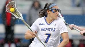 Hofstra's Alyssa Parrella (7) takes that ball to