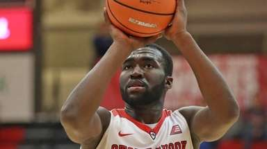 Stony Brook guard Akwasi Yeboah, shown here on