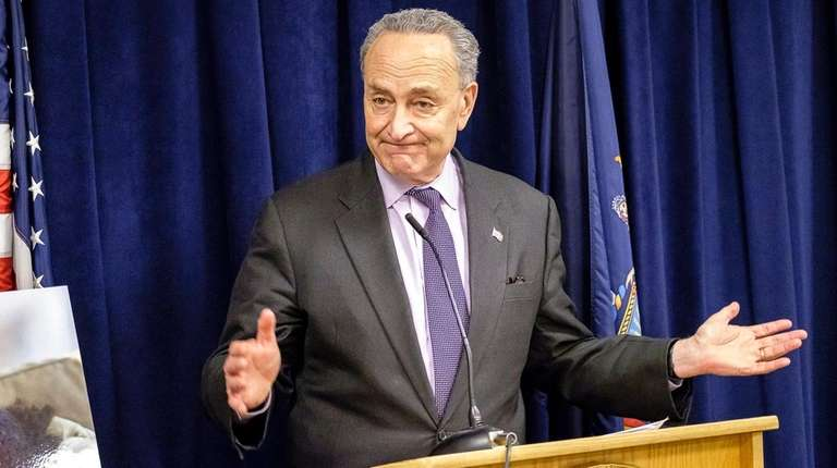 Sen. Chuck Schumer (D-N.Y.) speaks during a news