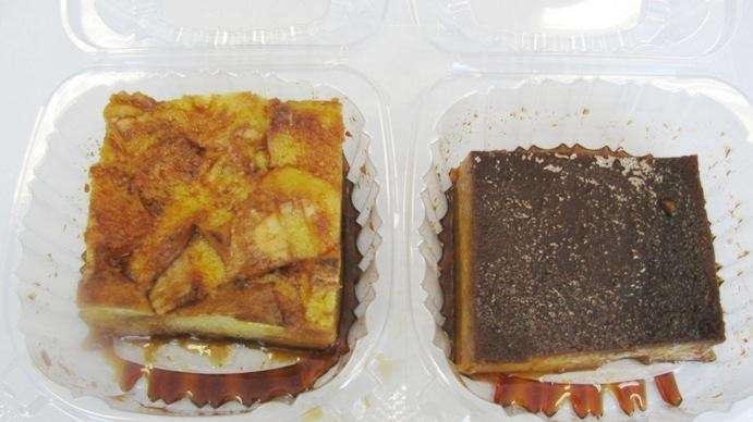 Bread pudding, left, and flan at Mi Casa