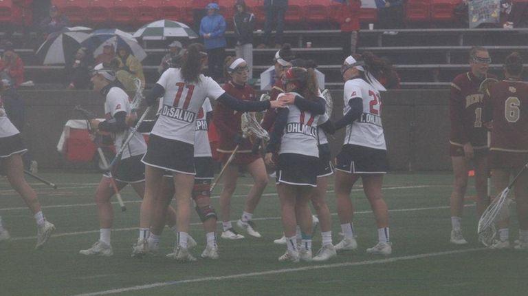 Stony Brook celebrates after a Kylie Ohlmiller goal