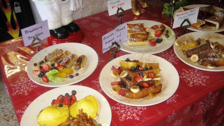 Breakfast display table at Peter Pan Diner in