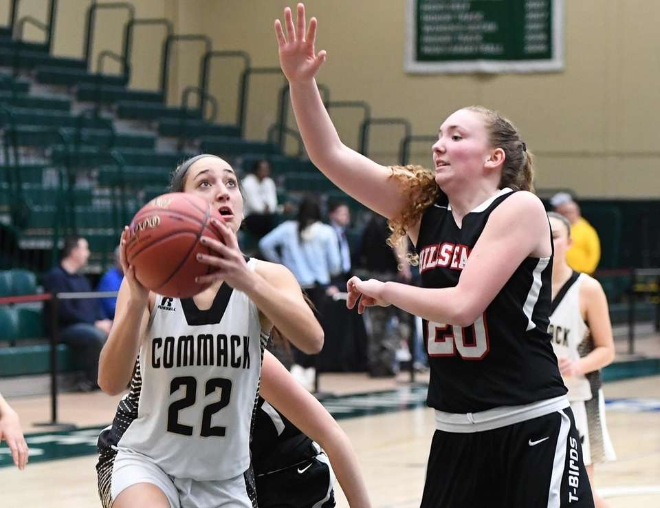 Commack guard Amanda McMahon looks to shoot defended