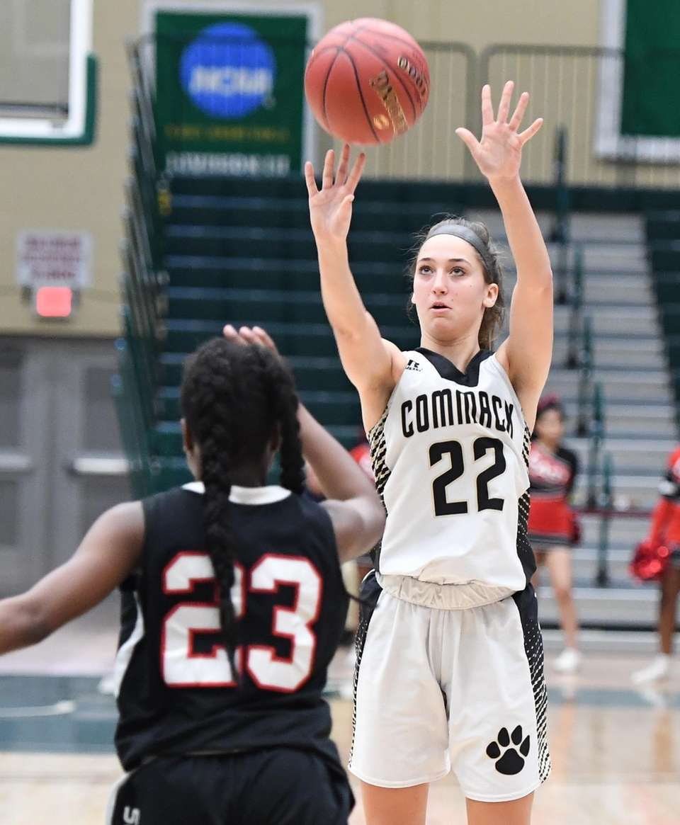 Commack guard Amanda McMahon shoots for a three-point