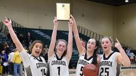 Commack players Gabby Becerra, Casey Hearns, Kim Shalhoub