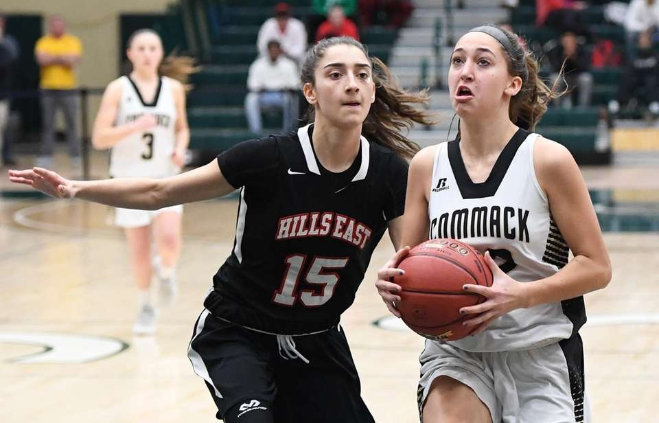 Commack guard Amanda McMahon drives to the basket